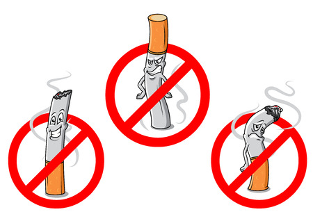 Cartoon cigarettes with red no smoking signs for public prohibitory warnings and healthcare design Illustration