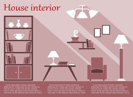 coffee table: House living room interior flat infographic with bookcase, chair, floor lamp, coffee table, wall shelves and chandelier in various shades of pink and white with long shadow