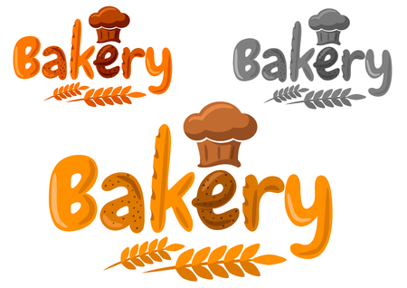 Panadería emblema de dibujos animados con la palabra panadería hecha de diferentes tipos de pan, sombrero de chef y espigas de trigo en amarillo, naranja y gris Foto de archivo - 35531419