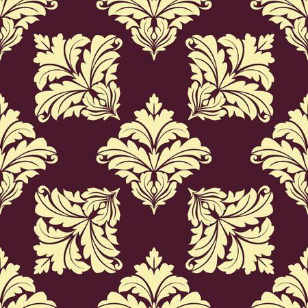 foliate: Foliate seamless pattern with repeated damask tracery from center to edges of beige leaves scrolls on maroon background for wallpaper and textile design Illustration
