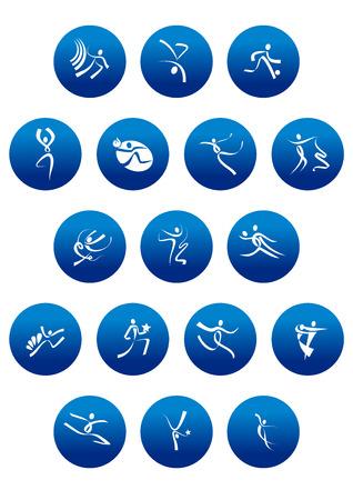 symbol sport: Sport, Tanz und Kunstturnen Symbole mit wei�en abstrakten Sportler Silhouetten in blaue Kreise f�r sportlichen Wettbewerb Design