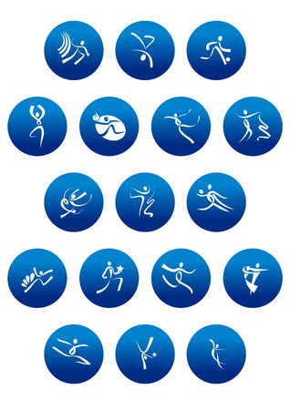 sport silhouette: Sports,dance and artistic gymnastics icons with white abstract sportsman silhouettes in blue circles for sporting competition design Illustration