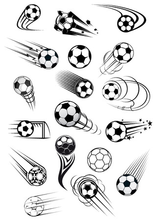Football or soccer balls with motion trails in black and white for sporting emblems and mascot design Vectores
