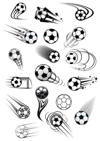 balon soccer: Fútbol o fútbol bolas con estelas de movimiento en blanco y negro de emblemas deportivos y diseño de la mascota Vectores