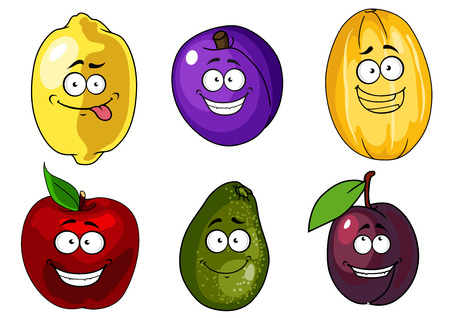 yellow apple: Funny cartoon red apple, purple plum, yellow melon and lemon, green avocado fruits for healthy nutrition concept or vegetarian menu design