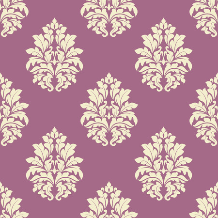 dusty: Floral seamless tracery of damask cream flowers with lush blooming on dusty pink background suited for interior and fabric design Illustration