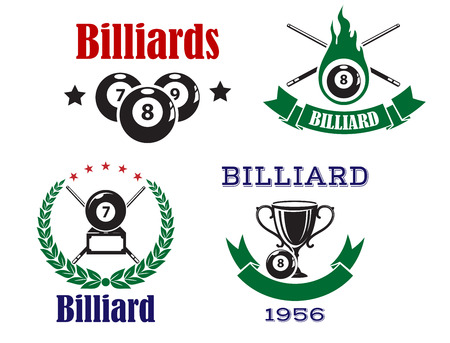 cues: Billiard or pool emblems in traditional colors with crossed cues, billiard balls and trophy cup decorated laurel wreath, ribbon banners and stars for sporting club or competition design