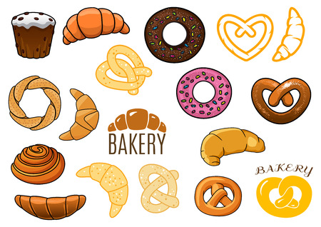 Bakery design elements of buns, cakes, croissants, donuts, pretzels in cartoon and outline style with captions