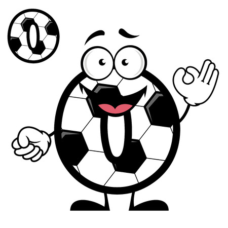 Cartoon soccer or football ball pattern number zero with cheerful smiling face showing ok sign for competition score or mathematic lessons design Vector