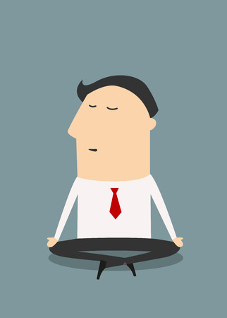 workday: Cartoon meditating businessman sitting in yoga lotus position relaxing during hard workday, flat style Illustration