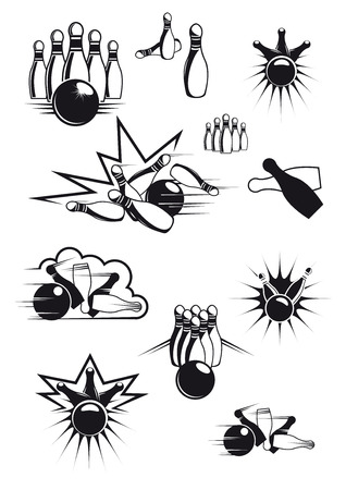 bowling strike: Black and white sports bowling balls and ninepins with motion lines and bang clouds Illustration