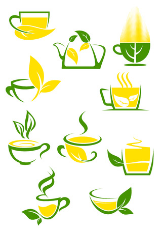 green tea leaves: Outlined cups with teapot decorated green and yellow lemon leaves filled hot organic green or herbal tea for cafe and tea shop design