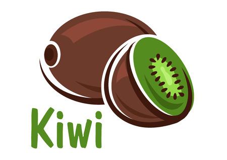 kiwi fruta: Kiwi fresca madura con rodajas medio de frutos que presenten pulpa jugosa verde y semillas en el fondo blanco con el subtítulo Kiwi Vectores