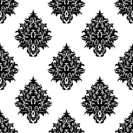 curlicue: Black and white seamless damask pattern of abstract ornate flowers with bold curlicue petals for textile and wallpaper design Illustration