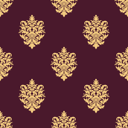 twirls: Yellow floral seamless pattern in damask style of sparse flowers with curled leaves and and twirls on maroon background for textile and tapestry design