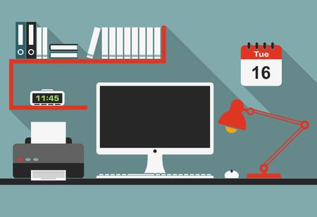 Interior del lugar de trabajo de oficina con el ordenador de sobremesa, ratón, lámpara, reloj, una estantería y una impresora en estilo plano para el diseño de concepto de negocio Vectores