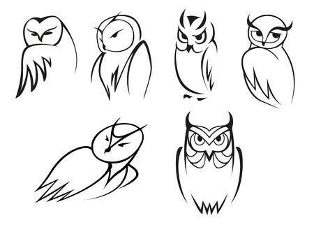 Schets cartoon uil vogels in verschillende poses voor onderwijsconcept, mascotte ontwerp
