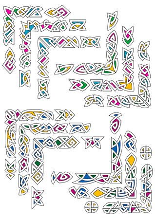 Colorful celtic knot ornamental corners for ethnic frame and decoration design
