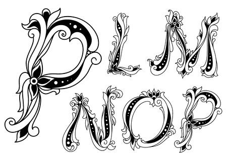 vintage: Floral alfabet met hoofdletters P, L, M, N en O versierd bloemen en krullen op hoofdlijnen stijl voor de uitnodiging, geschiedenis of boek ontwerp