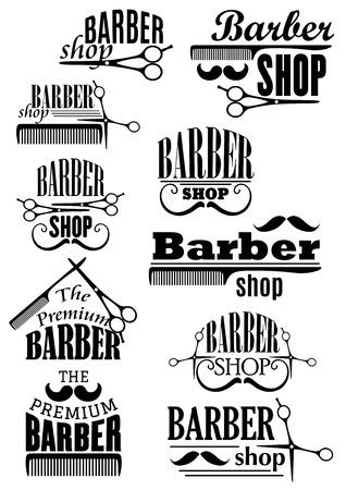 Barbería emblemas negros con exuberante y rizado bigote, tijeras y peines en estilo retro para corte de cabello y salón de afeitado diseño Foto de archivo - 35531461