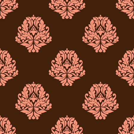 foliate: Foliate seamless pattern with baroque stylized pink flowers composed of leaves scrolls and curls on brown background suitable for fabric and wallpaper design Illustration