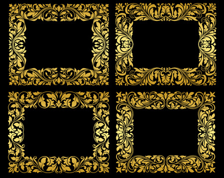 foliate: Golden frames in retro style on black background with ornate foliate tracery for romantic and luxury design Illustration