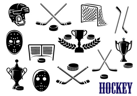 Ice hockey emblem design elements with hockey pucks, masks, helmet, crossed sticks, gates and trophy cups decorated laurel wreath Illustration