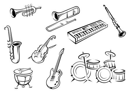 Iconos musicales de instrumentos en estilo de esquema con guitarra, violín, trompeta, saxofón, piano y tambores para el diseño de concepto orquesta clásica