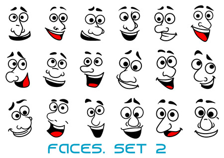 Funny human faces in cartoon style with happy toothy smiles for avatar or comic book design Vectores