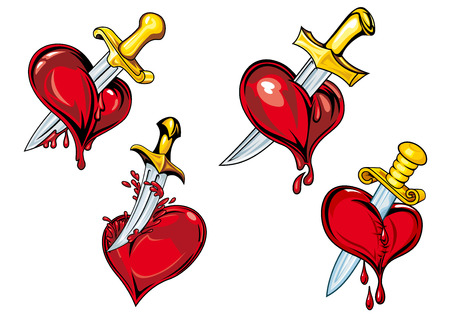 heart pain: Bleeding hearts with daggers in cartoon style for tattoo and broken heart concept design Illustration
