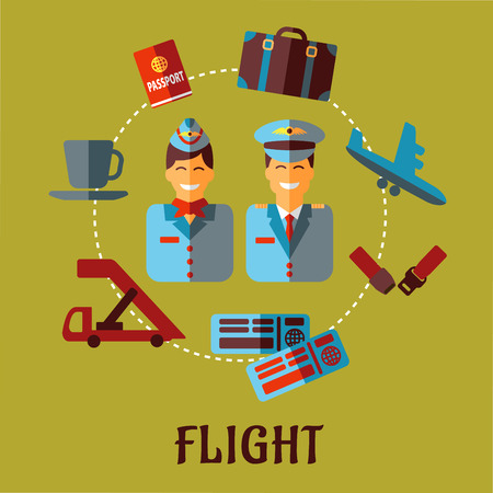 passport: Air traveling infographic in flat style with smiling stewardess and pilot in uniforms surrounded flight pictograms showing passport, suitcase, plane, seat belt, tickets and cup of coffee