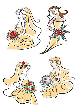 veils: Graceful young brides in beige fluffy wedding dresses and lace veils with bouquets in sketch style for greeting card or invitation design