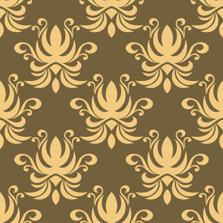 scroll tracery: Seamless floral pattern on pale brown background with repeated tracery of abstract yellow flowers decorated swirls and curly tendrils