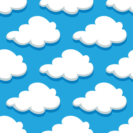 Seamless sky pattern of large billowing clouds with shadows in cartoon style on bright blue background forcomics and wallpaper design Vector