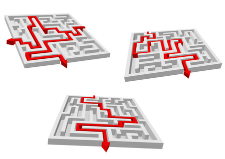 brainteaser: Abstract mazes or labyrinths with red arrows showing variants of brainteaser solutions for business success strategy design Illustration