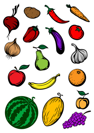 Colorful fresh fruits and vegetables in cartoon style isolated on white background for vegetarian restaurant menu or healthy nutrition concept design Vector