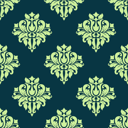 scroll tracery: Seamless green colored flourish pattern of vintage damask tracery with elegant lush flowers for luxury wallpaper and fabric design