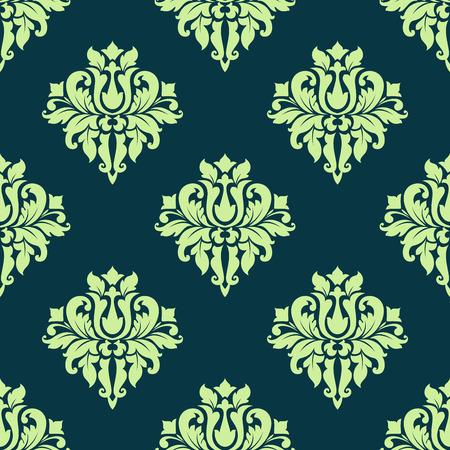 Verde inconsútil del modelo del flourish color de tracería del damasco del vintage con elegantes flores exuberantes para el papel pintado de lujo y diseño de la tela Foto de archivo - 35531481
