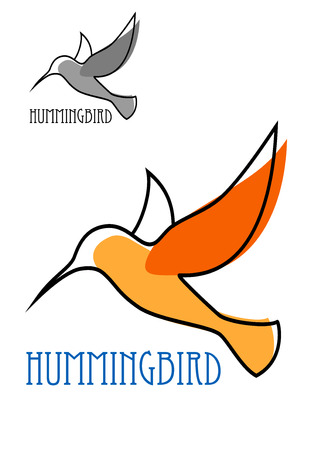 Abstract outline sketch of flying hummingbird with orange plumage and blue caption Hummingbird above them smaller duplicate in gray tones for emblem design Illustration