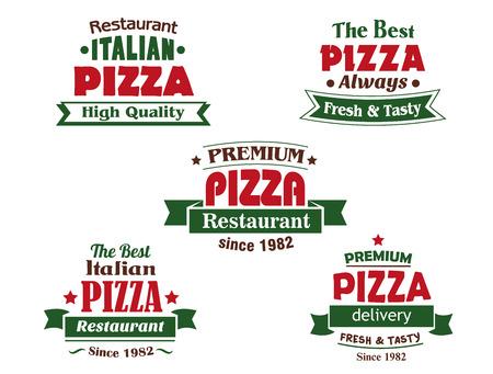 logos restaurantes: Logo pizza elementos de dise�o para italiano restaurante, cafeter�a y pizzer�a con cabeceras rojas, banderas de la cinta, las estrellas y los textos de fundamento la fecha, de primera calidad, servicio de entrega