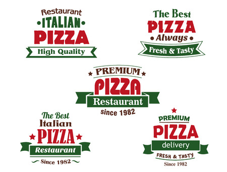 restaurants: Pizza logo design elements for italian restaurant, cafe and pizzeria with red headers, ribbon banners, stars and texts of date foundation, premium quality, delivery service
