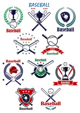 baseball: Emblemas del equipo de b�isbol o insignias con guantes de b�isbol, casco, pelotas, palos cruzados, plato y copas de trofeos completaron diversos elementos her�ldicos Vectores
