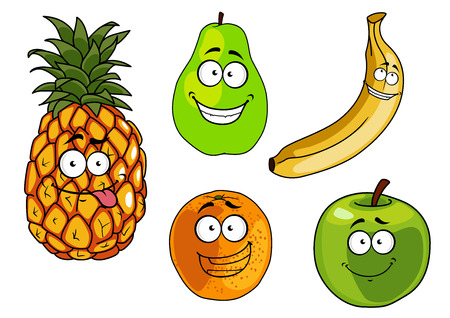 Cartoon happy apple, banana, orange, pineapple and pear fruits characters for healthy nutrition concept or food design