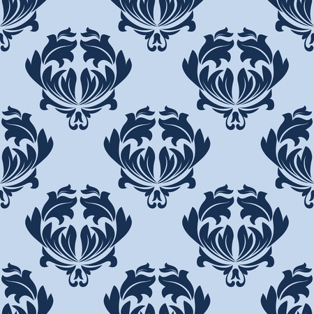 twirls: Seamless baroque background in shades of blue with densely arranged elegant leaves scrolls and twirls for fabric or interior design