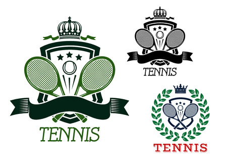 crowned: Tennis heraldic emblems in retro style with crossed rackets and balls on crowned shields, ribbon banners and laurel wreath for sporting design