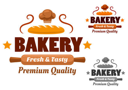 Bakery logo or emblem with fresh loaf, wooden rolling pin and chef hat decorated stars and curls in yellow, brown, gray colors