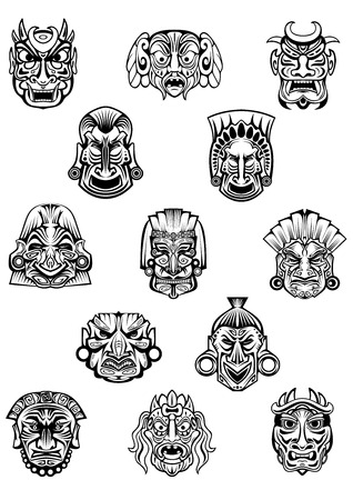 tattoo face: Ritual ceremonyl tribal masks in traditional african style with different emotion expressions for monster avatars, religion or historical concept design