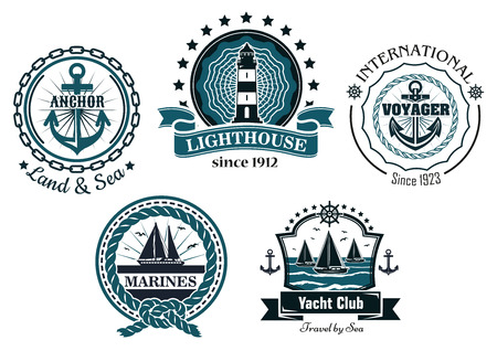 navy blue: Vintage marine labels and emblems showing anchors, lighthouse, yachts, helm, ropes, chains and ribbon banners