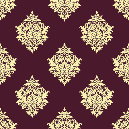 Floral seamless oriental pattern with beige lush flowers consist of twirls, curly leaves and elegant petals on burgundy background for wallpaper and fabric design