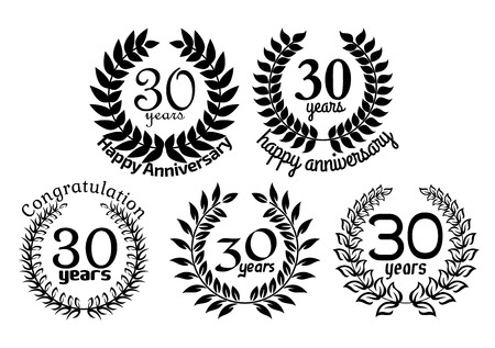 30 years: Greeting anniversary heraldic laurel wreathes with wishes and congratulations in black and white colors for invitation and celebration party of  30 years design